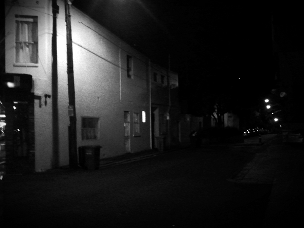 Newtown at night by phone